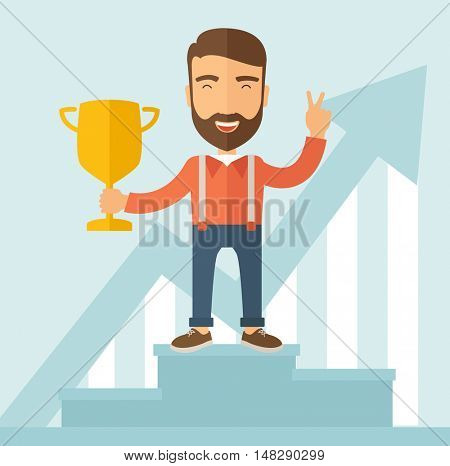 The man with a beard standing at the podium holding a golden trophy. Winner concept.  flat design illustration.