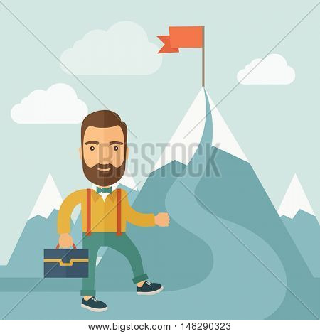The man with a beard carrying a suitecase climbing a mountain to attain success. Success concept.  flat design Illustration.