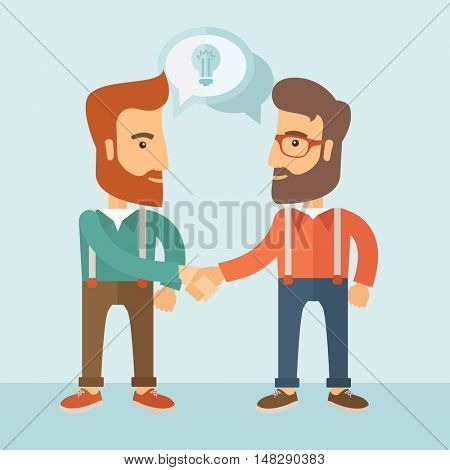 Two businessmen with beards shaking hands and sharing ideas. Partnership concept.  flat design Illustration.