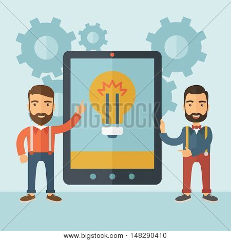 Two young men with beards pointing to the tablet with the bulb icon. Idea concept for mobile devices.  flat design Illustration.