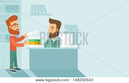 A man giving a paper work to do to other man, stressful man in office with stack of paper on his desk. Business concept in overload work and very busy. A contemporary style with pastel palette soft