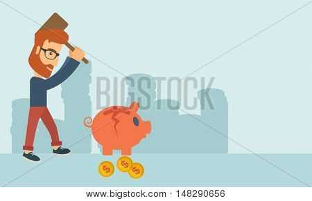 A hipster Caucasian businessman standing while holding a hammer breaking piggy bank with dollar coins for financial assistance of his foreclosure business. Financial crisis concept. A contemporary