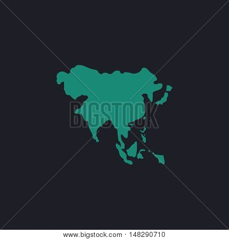 Asia Color vector icon on dark background