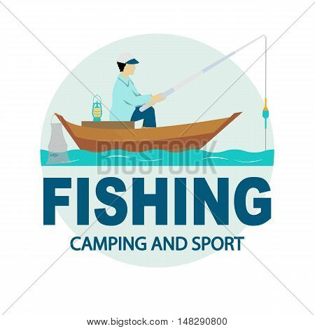 The inscription fishing camping and sport. Fishing rod fishing reel hooks.Icons and illustrations for design website infographic poster advertising. Fat style.