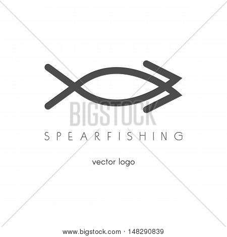 Fishing spearfishing vector logo design template. Fishing Hook. Sport icons.