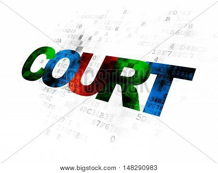 Law concept: Pixelated multicolor text Court on Digital background