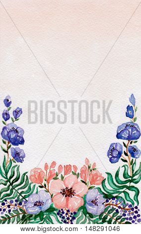 Watercolor Card with Wild Blue and Red Flowers Berries and Green Leaves