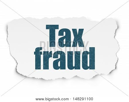 Law concept: Painted blue text Tax Fraud on Torn Paper background with  Tag Cloud