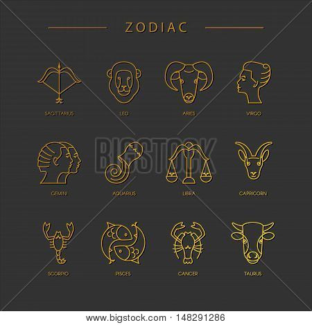 Thin line vector zodiacal symbols. Astrology horoscope sign graphic design elements printing template. Zodiac Signs isolated on background.