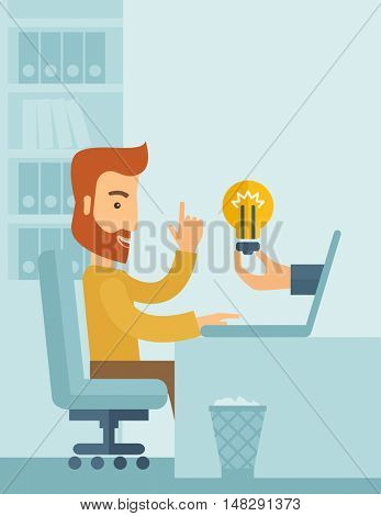 A happy businessman with beard sitting while working infront of his desk getting a brilliant idea for business from the laptop. Business concept. A contemporary style with pastel palette soft blue