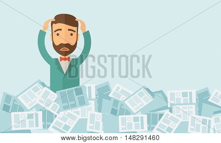 A hipster Caucasian man has a lot of works to do with those papers infront of him, problem on how to meet the deadline of his report. Disappointment concept. A contemporary style with pastel palette