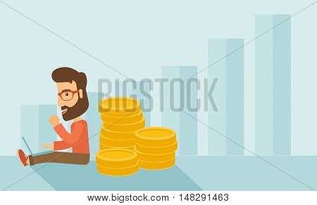Successful hipster Caucasian businessman with beard is sitting with a pile of gold coins on his back and a laptop on his lap. Winner concept,  A contemporary style with pastel palette soft blue tinted