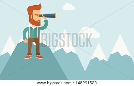 A Happy young hipster man with the beard holding telescope on the top of the blue mountain with snow trying to look for something on the sky. A contemporary style with pastel palette soft blue tinted