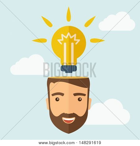 A young happy Caucasian businessman with beard thinking about success solution. Human intelligence concept. A contemporary style with pastel palette, soft blue tinted background with desaturated