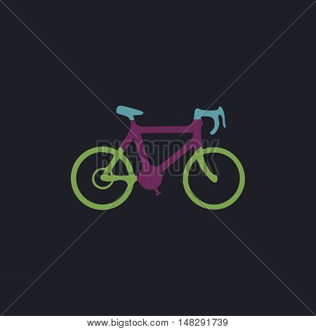 Bicycle Color vector icon on dark background