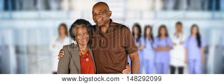 Elderly patient who is getting care at a hospital
