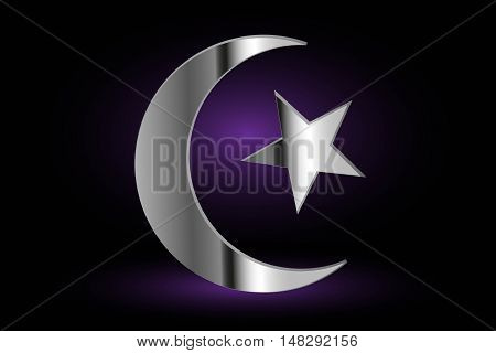 Muslim symbol ,Islam Symbol, Crescent and Star ,icon of Islam on a purple background