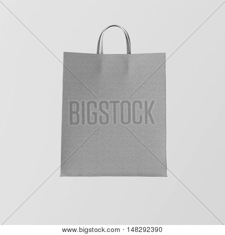 Closeup Gray Kraft Paper Bag Isolated Center White Empty Background.Mockup Highly Detailed Texture Materials.Space for Business Message. Square. 3D rendering
