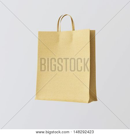 Closeup Kraft Paper Bag Isolated Center White Empty Background.Mockup Highly Detailed Texture Materials.Space for Business Message Sales. Square. 3D rendering