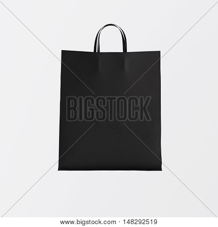 Closeup Black Paper Bag Isolated Center White Empty Background.Mockup Highly Detailed Texture Materials.Space for Business Message. Square. 3D rendering