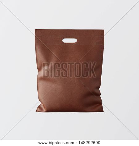 Closeup Bronze Color Leather Small Bag Isolated Center White Empty Background.Mockup Highly Detailed Texture Materials.Space for Business Text Message. Square. 3D rendering
