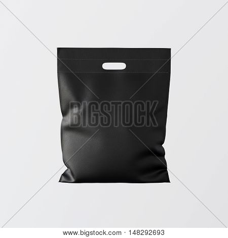 Closeup Black Color Leather Small Bag Isolated Center White Empty Background.Mockup Highly Detailed Texture Materials.Space for Business Text Message. Square. 3D rendering