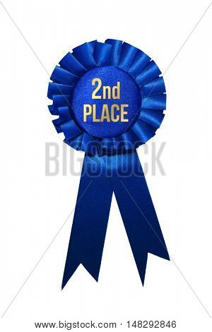Second place blue ribbon award on white background.