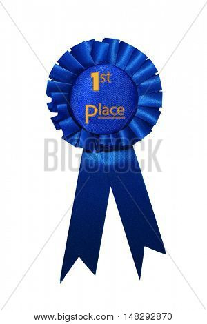First place blue ribbon award on white background.