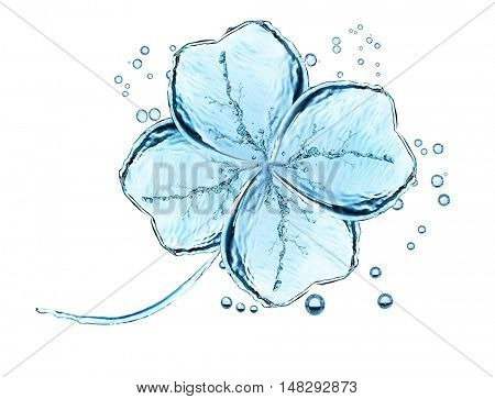 Water pattern of clover leaf on white background.
