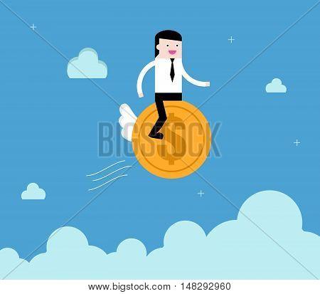Businessman Ride Coin Financial Freedom