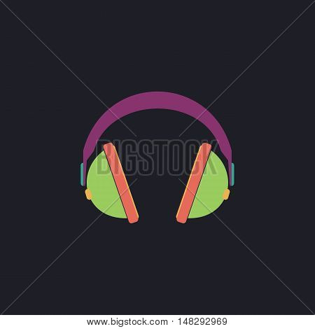 headphone Color vector icon on dark background