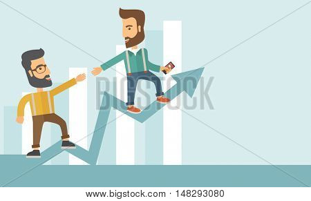 Two hipster Caucasian businessmen with beard standing working together to reach their quota in sales with the arrow up showing that they are successful. Teamwork concept. A contemporary style with