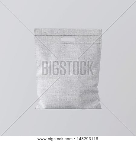 Closeup White Color Textile Small Bag Isolated Center Gray Empty Background.Mockup Highly Detailed Texture Materials.Space for Business Text Message. Square. 3D rendering