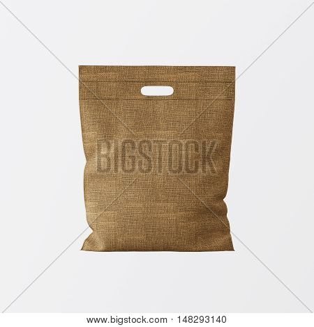 Closeup Natural Brown Color Textile Small Bag Isolated Center White Empty Background.Mockup Highly Detailed Texture Materials.Space for Business Text Message. Square. 3D rendering