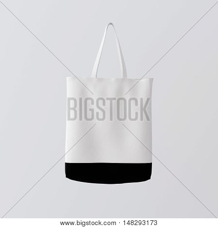 Closeup White Cotton Textile Bag Hanging Center Gray Empty Background.Isolated Mockup Highly Detailed Texture Materials.Space for Business Message. Square. 3D rendering.