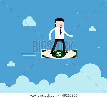 Businessman Surf Banknote Financial Freedom