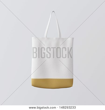 Closeup White Cotton Textile Bag Hanging Center Abstract Empty Background.Studio Shoot.Isolated Mockup Highly Detailed Texture Materials.Space for Business Message. Square. 3D rendering