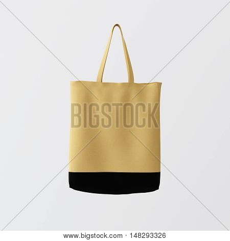 Closeup Natural Brown Cotton Textile Bag Hanging Center White Empty Background.Isolated Mockup Highly Detailed Texture Materials.Space for Business Text. Square. 3D rendering