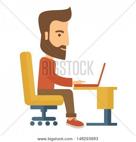 A buisnessman sitting infront of his laptop searching information in computer network. Searching concept. . A contemporary style. flat design illustration with isolated white background. Square layout