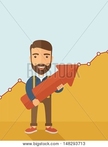 A lucky young  hipster Caucasian man with beard cheerfully carrying a red arrow pointing upward showing for his successful plan in business. Business growth, prosperity concept. A contemporary style