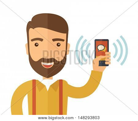 A man standing while holding smartphone with bubble, call and sends message via sms chat with internet wifi. Communication concept. A contemporary style. flat design illustration with isolated white