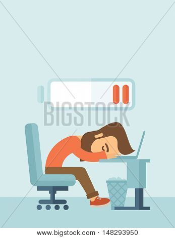 Young tired employee sitting, lying on his table with low power sign on the top of his head need rest, vacation, holiday. A contemporary style with pastel palette, soft blue tinted background. flat