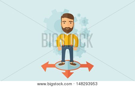 A young and good looking man standing in circle with 3 arrows on the ground, metaphor to starting or beginning to go straight, right or left. New Beginning cocept. A Contemporary style with pastel
