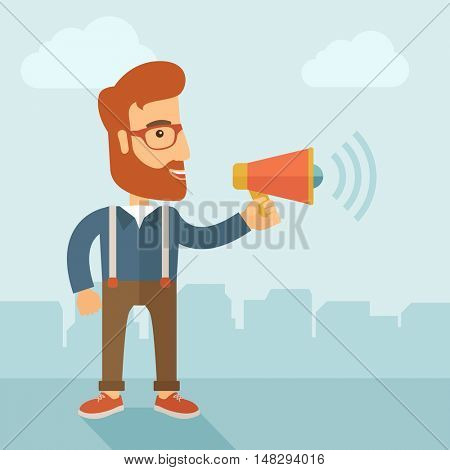 The businessman with a beard shouting in megaphone. Social media marketing concept.   flat design illustration.