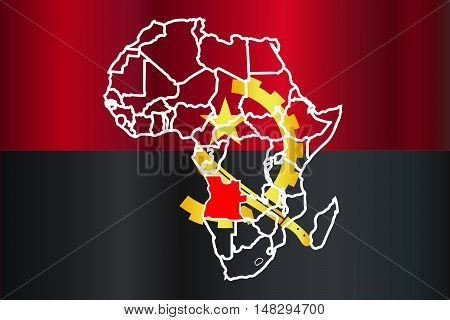 Angola outline inset into a map of Africa over a white background
