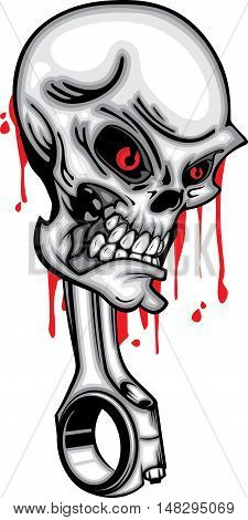Skull head piston red eye 3d vector with blood on white background