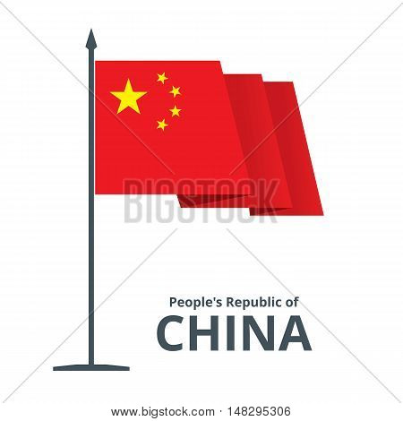 China fluttering waving flag on flagpole. Red banner with five golden stars isolated on white. Vector eps8 illustration.