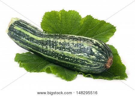One zucchini with leaf isolated on white background.