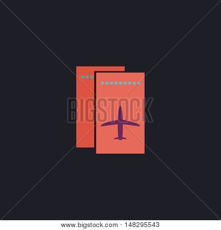 ticket plane Color vector icon on dark background