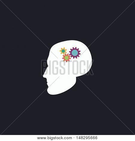 Head gears Color vector icon on dark background